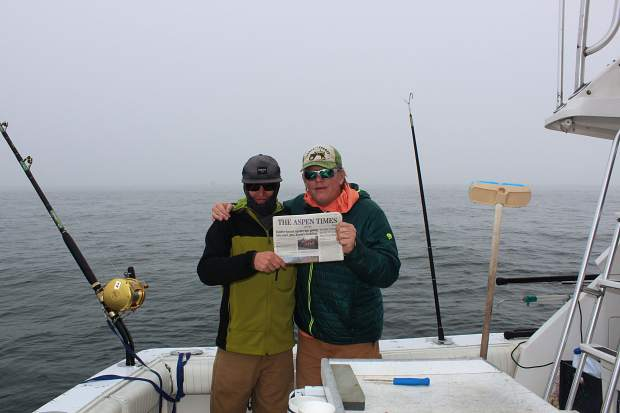 Aspen Police Department officer Terry Leitch (right) and son Terry Jr. recently went giant blue fin tuna fishing off the coast of Gloucester, Massachusetts, on one of the boats in the fleet from the