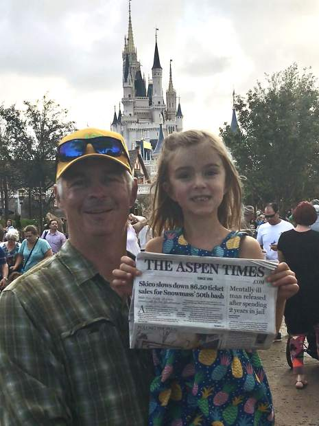 Charley and Charlotte Case recently enjoyed the Magic Kingdom in Orlando, Florida. The two stayed current on local news by bringing along a copy of The Aspen Times. Email your