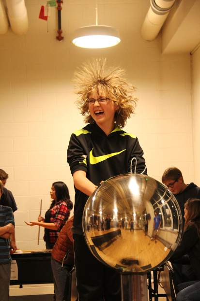 Aspen Science Center teamed up with Basalt Middle School for Family Science Night, with hands-on science demos including a hair-raising 700,000volt Van de Graaff generator, on Nov. 10. The Science Center is hosting the Quantum Ball to raise funds for their year-round programming. More info and tickets at AspenScienceCenter.org/quantumball.