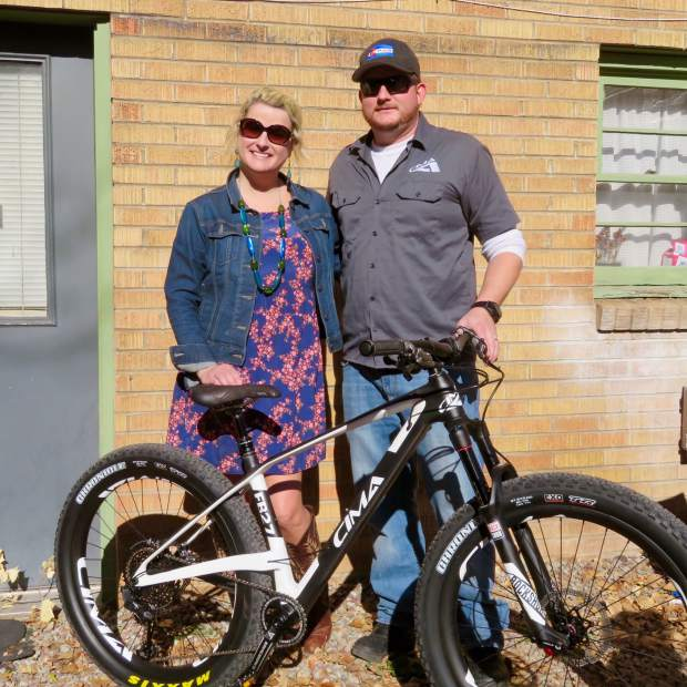 Jen Pl Won This Cima Mountain Bike For Her Volunteer Efforts On Aspen Area Trails The Was Presented By P J Clotfelter Of Ute City Cycles