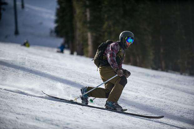A teleskier makes his way down Aspen Mountain on opening day on Thursday.