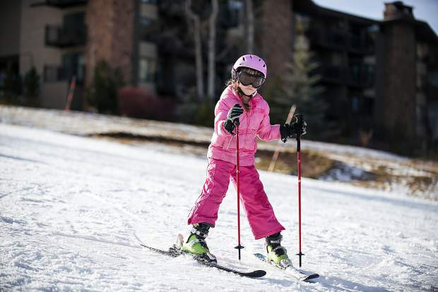 A little skier makes their way down Fanny Hill Thursday afternoon of Snowmass Mountain's opening day.