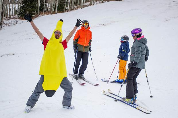 Thomas Bentely strikes a pose in his banana costume at his post for the Banana Days scavenger hunt in Snowmass on Saturday as part of the 50th anniversary celebrations.