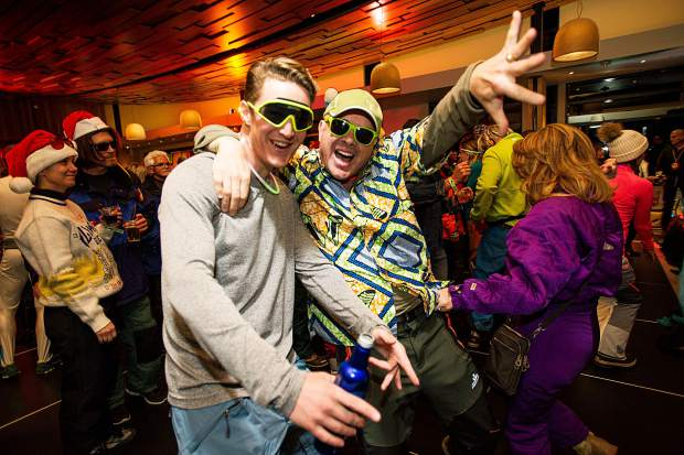 Guests enjoying the retro party at the Elk Camp Lodge in Snowmass Friday night for the 50th anniversary celebrations.