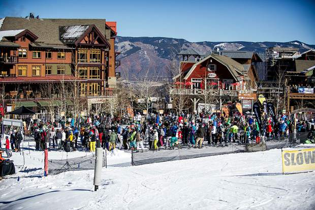 The line at the Village Express Lift in Snowmass on Friday for the 50th anniversary celebrations where lift tickets were only $6.50.