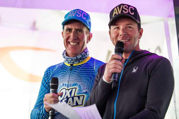 Big Mountain skier Chris Davenport, right, and Anthony Sullivan speak at the Aspen Valley Ski and Snowboard Club annual Ajax Cup fundraiser held at Shlomo's on Saturday after the racing.