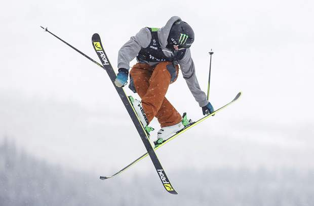 Evan McEachran of Canada, who qualified in second place with a score of 88.33, competes in the slopestyle qualifiers during the Dew Tour event Thursday, Dec. 14, at Breckenridge Ski Resort.
