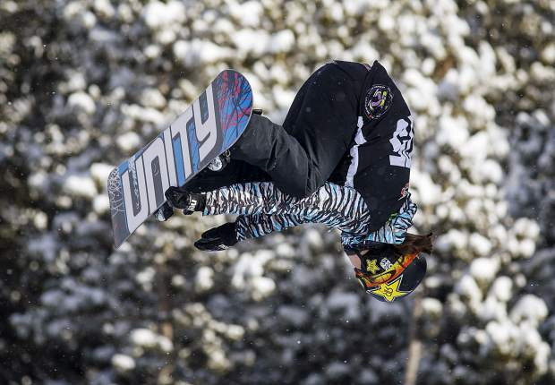 Arielle Gold of United States competes in the superpipe qualifiers during the Dew Tour event Thursday, Dec. 14, at Breckenridge Ski Resort.