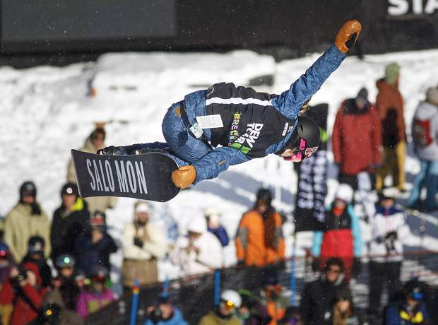 Maddie Mastro of United States competes in the superpipe qualifiers during the Dew Tour event Thursday, Dec. 14, at Breckenridge Ski Resort.
