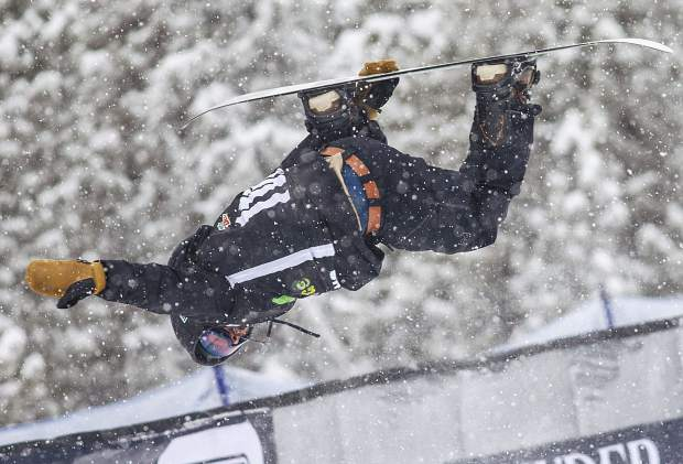 Danny Davis of the United States competes in the snowboard superpipe qualifiers during the Dew Tour event Thursday, Dec. 14, at Breckenridge Ski Resort. Davis qualified for Friday's final with a score f 63.33.