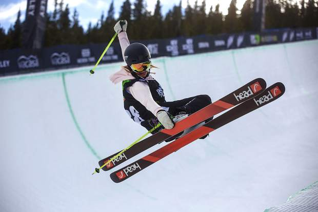 Sabrina Cakmakli of Germany competes in the superpipe qualifications during the first day of Dew Tour Wednesday, Dec. 13, at Breckenridge Ski Resort.