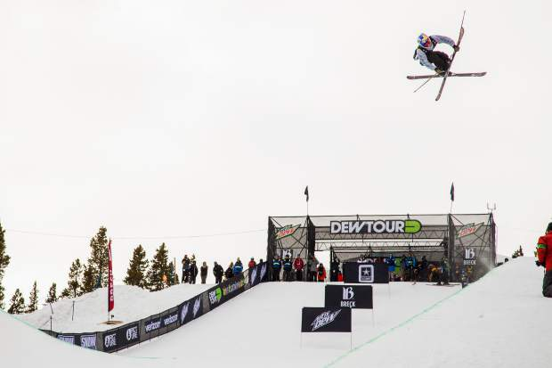 Torin Yater-Wallace of the United States eyes a landing during Wednesday's Dew Tour ski superpipe qualification round at Breckenridge Ski Resort. Yater-Wallace, of Aspen, advanced to Friday's final round in third place with a score of 88.33.
