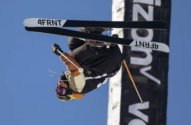 Alexander Ferreira of United States competes in the pro ski superpipe finals during the Dew Tour event Friday, Dec. 15, at Breckenridge Ski Resort. Ferreira took home first with a high score of 94.66.