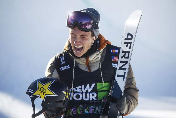 Alexander Ferreira of United States reacts following his last run in the pro ski superpipe finals during the Dew Tour event Friday, Dec. 15, at Breckenridge Ski Resort. Ferreira took home first with a high score of 94.66.
