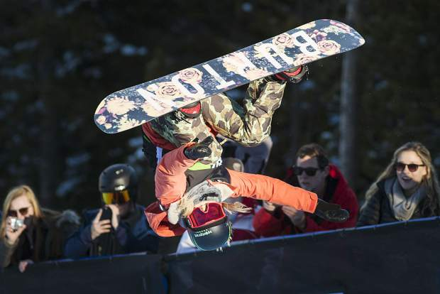 Ben Ferguson of United States competes in the superpipe finals during the Dew Tour event Friday, Dec. 15, at Breckenridge Ski Resort. Kim took home first with a high score of 93.