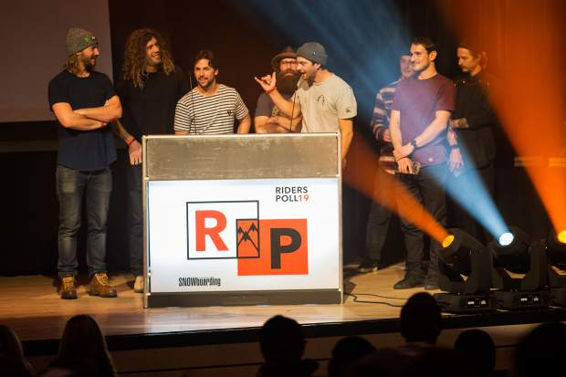 The Manboys crew accepts the award for Online Video Series of the Year at Friday night's 19th annual TransWorld SNOWboarding Riders' Poll Awards at the Riverwalk Center in Breckenridge.