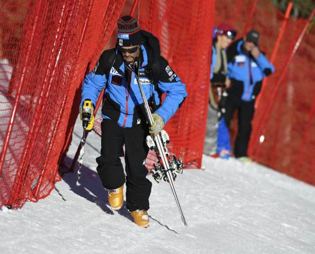 U.S. Ski Team downhill coach Johno McBride heads up-course to ditch his skis at the U.S. Ski Team Speed Center at Copper Mountain before the men's and women's speed training November 15, 2017. (Andy Cross, The Denver Post)