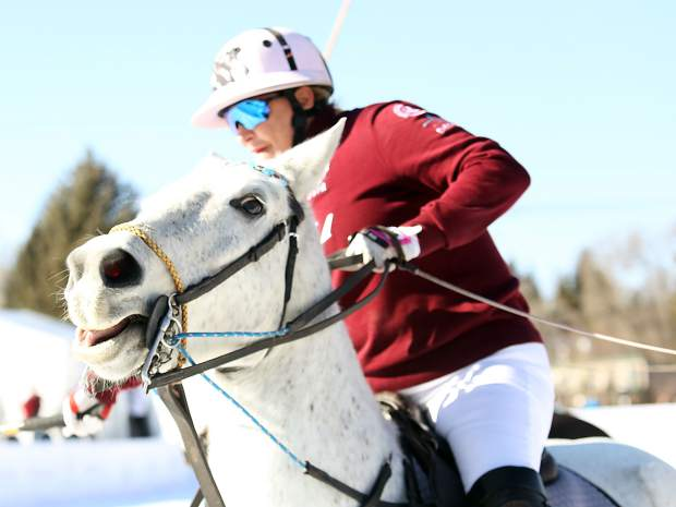 Melissa Ganzi competes with Flexjet in the final of the World Snow Polo Championship on Sunday in Aspen.