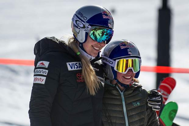 Vail's Lindsey Vonn takes a photo with Aspen Valley Ski and Snowboard Club skier Kailey Murphy, 13, after a Sunday training session at the Stapleton Training Center at Aspen Highlands.