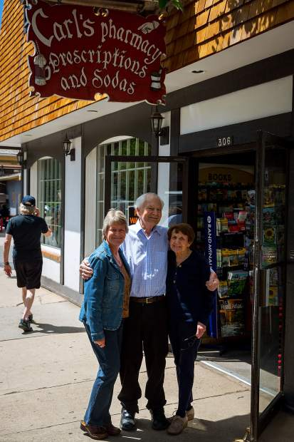 Carl Bergman, seen here in 2015 with his wife, Katie, (right) and daughter Linda. Carl, who bought and opened Carl's Pharmacy in 1965, died Sunday at his home in Aspen. He was 85.