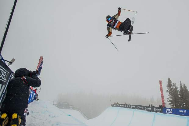 Local Aspen superpipe skier Alex Ferreira on his second hit of his first run in the qualifiers for men's ski superpipe on Wednesday in Snowmass for the U.S. Grand Prix. Ferreira took first place in his heat and third place overall in the qualifiers and will compete in finals on Friday.