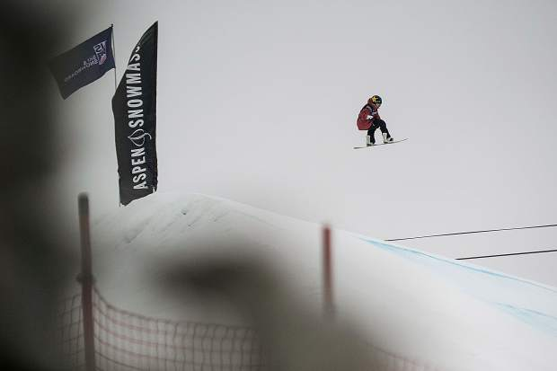 New Zealand's Christy Prior spins off the second jump for the women's snowboard slopestyle finals at the U.S. Grand Prix in Snowmass on Friday. Prior won with an overall score of 77.06, Reira Iwabuchi of Japan took second, and Tess Coady of Australia took third.