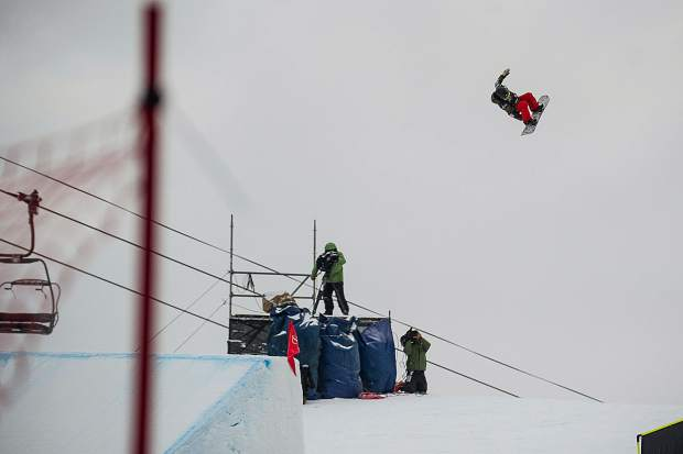 Reira Iwabuchi going off the second jump during the snowboard slopestyle finals at the U.S. Grand Prix in Snowmass on Friday. New Zealand's Christy Prior won with an overall score of 77.06, Iwabuchi of Japan took second, and Tess Coady of Australia took third.