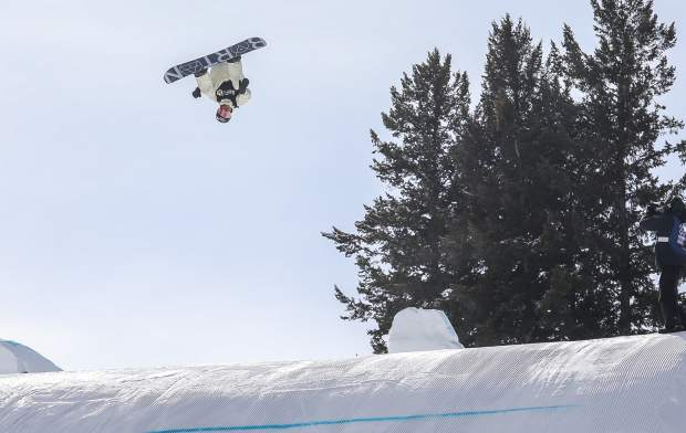 Red Gerard, of Summit County, gets inverted during the snowboard slopestyle finals on Saturday, Jan. 27, in Aspen. Gerard placed fourth.