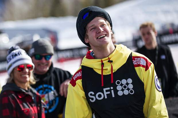 Summit County's Kyle Mack smiles after finishing and landing his first run for the men's snowboard slopestyle qualifiers in Aspen for X Games on Thursday. Mack took fourth overall with a score of 82.66 to advance to Saturday's final.