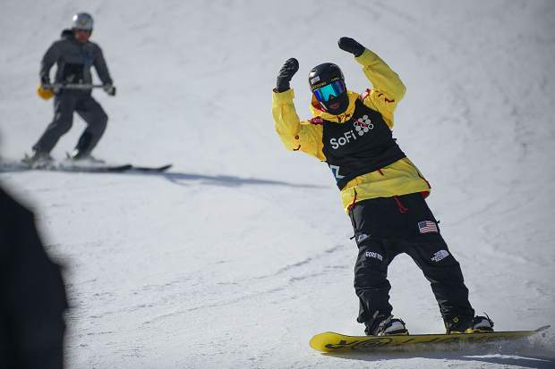 Silverthorne resident and West Bloomfield, Michigan-native Kyle Mack throws up his arms in excitment after landing his first run for the men's snowboard slopestyle qualifiers in Aspen at Thursday's X Games action. Mack took fourth overall with a score of 82.66 to qualify for Saturday's final.