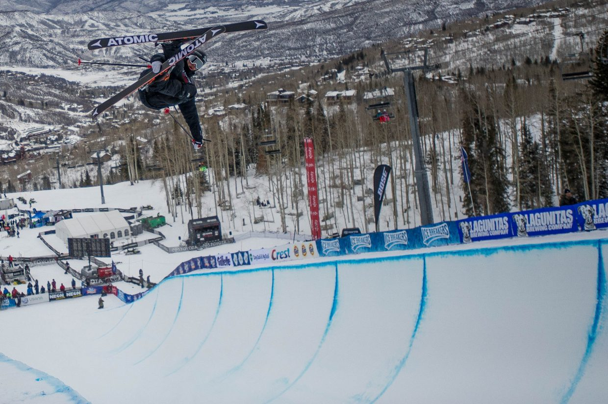 Gus Kenworthy near the bottom of the pipe on a practice run for the men's ski halfpipe finals at the U.S. Grand Prix in Snowmass on Friday.