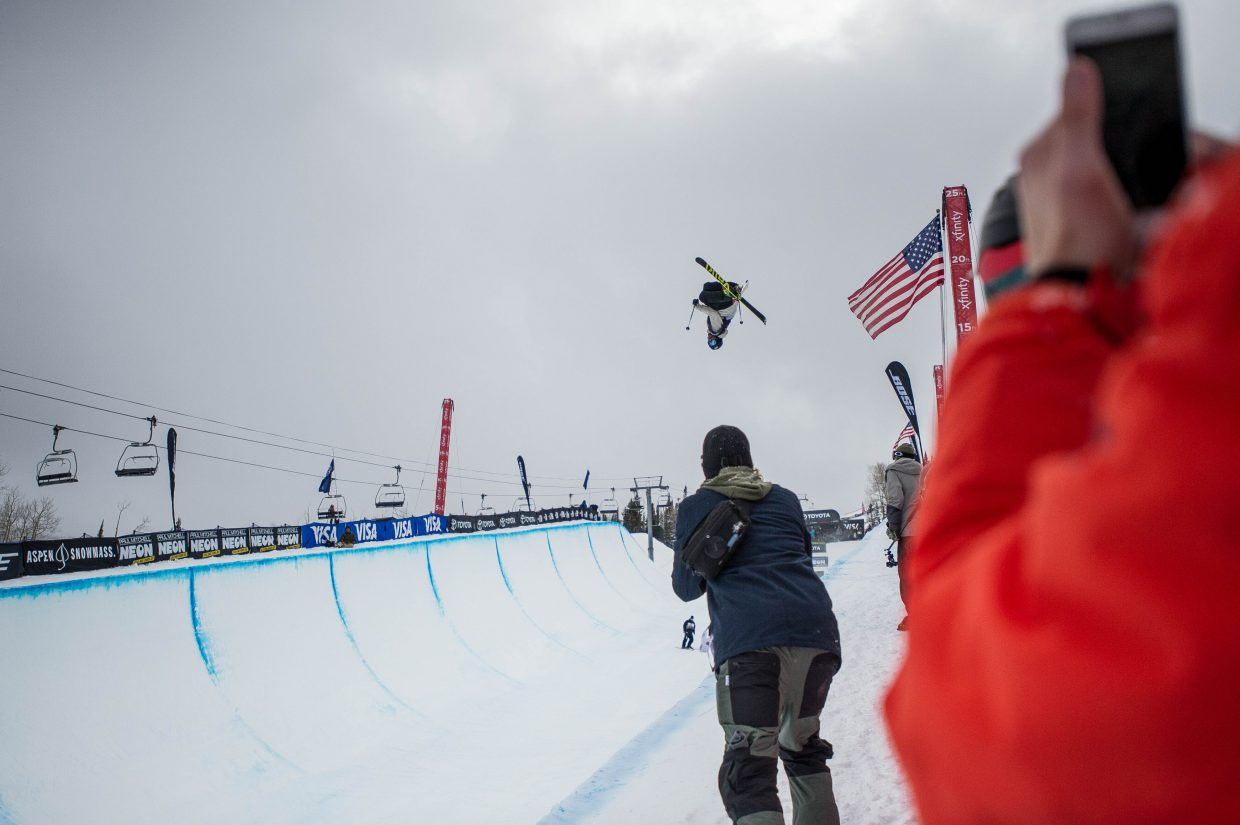 France's Kevin Rolland in the pipe for his first run for the men's ski superpipe finals for the U.S. Grand Prix in Snowmass on Friday.