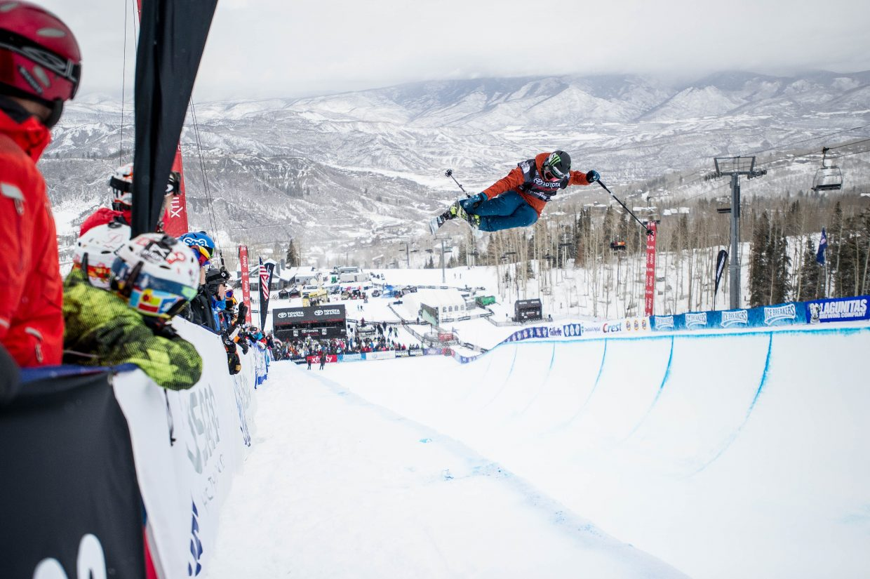 Devin Logan on her second run for the women's freeski superpipe finals in Snowmass on Friday for the U.S. Grand Prix.