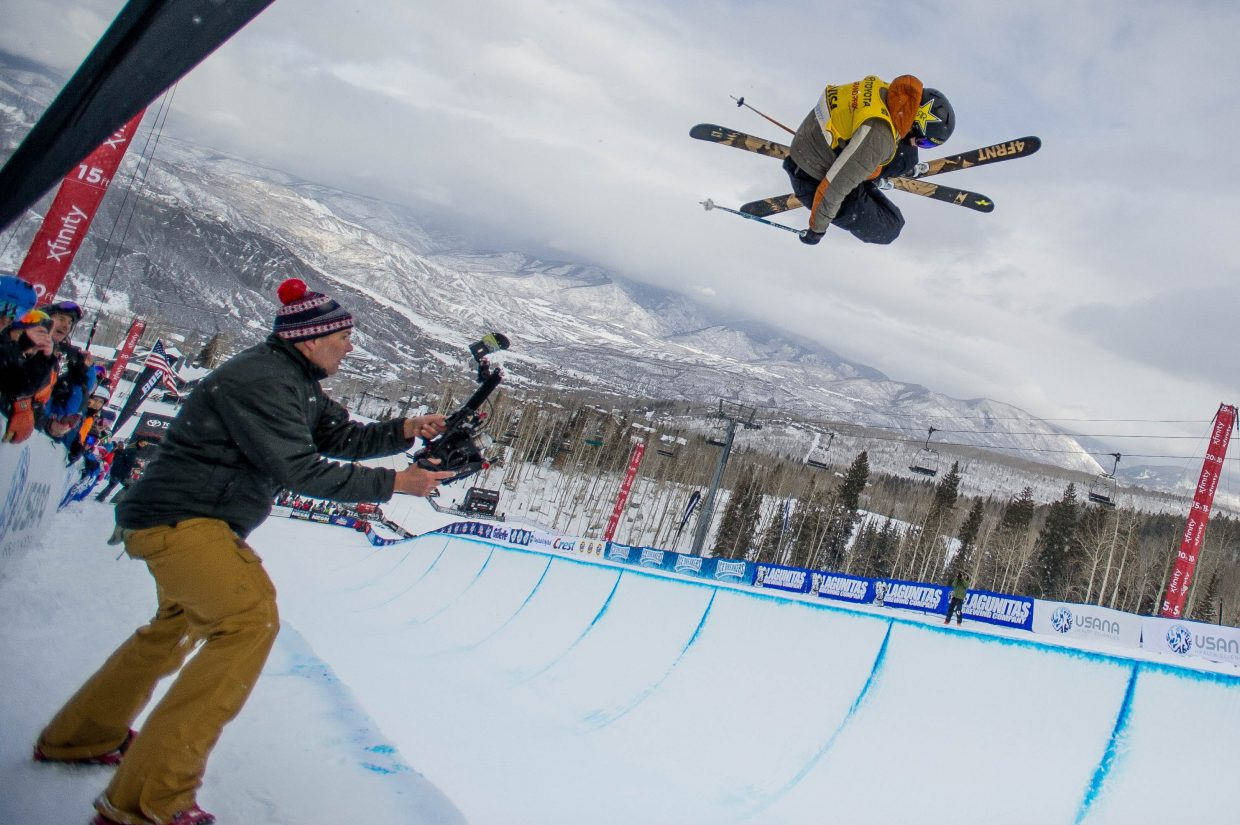 Aspen local halfpipe skier Alex Ferreira on his first run in the men's ski superpipe finals on January 12, 2018 at Snowmass for the U.S. Grand Prix. Ferreira took second place overall with David Wise in first and Aaron Blunck in third.