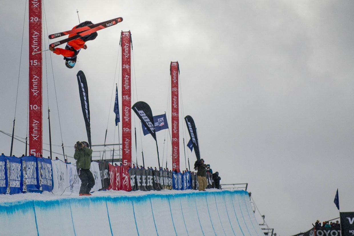 Crested Butte's Aaron Blunck on his second run for the men's ski superpipe finals in Snowmass for the Grand Prix on Friday. Blunck took third place overall, Alex Ferreira took second, and David Wise in first.