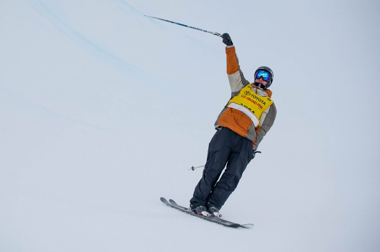 Aspen local halfpipe skier Alex Ferreira whips his pole after completing his third run in the men's ski superpipe finals on January 12, 2018 at Snowmass for the U.S. Grand Prix. Ferreira took second place overall with David Wise in first and Aaron Blunck in third.