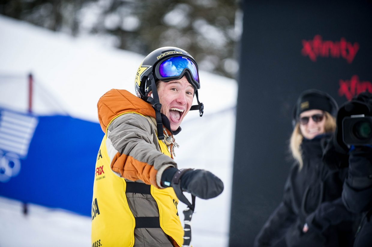 Aspen local halfpipe skier Alex Ferreira is all smiles after receiving a score of 93 in the men's ski superpipe finals on January 12, 2018 at Snowmass for the U.S. Grand Prix. Ferreira took second place overall with David Wise in first and Aaron Blunck in third.