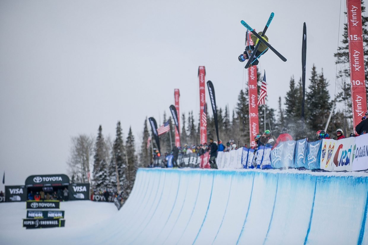 David Wise boosting out of the superpipe on his third run for the men's ski superpipe finals at the Snowmass U.S. Grand Prix competition on Friday. Wise landed first place with a 95 on his first run.