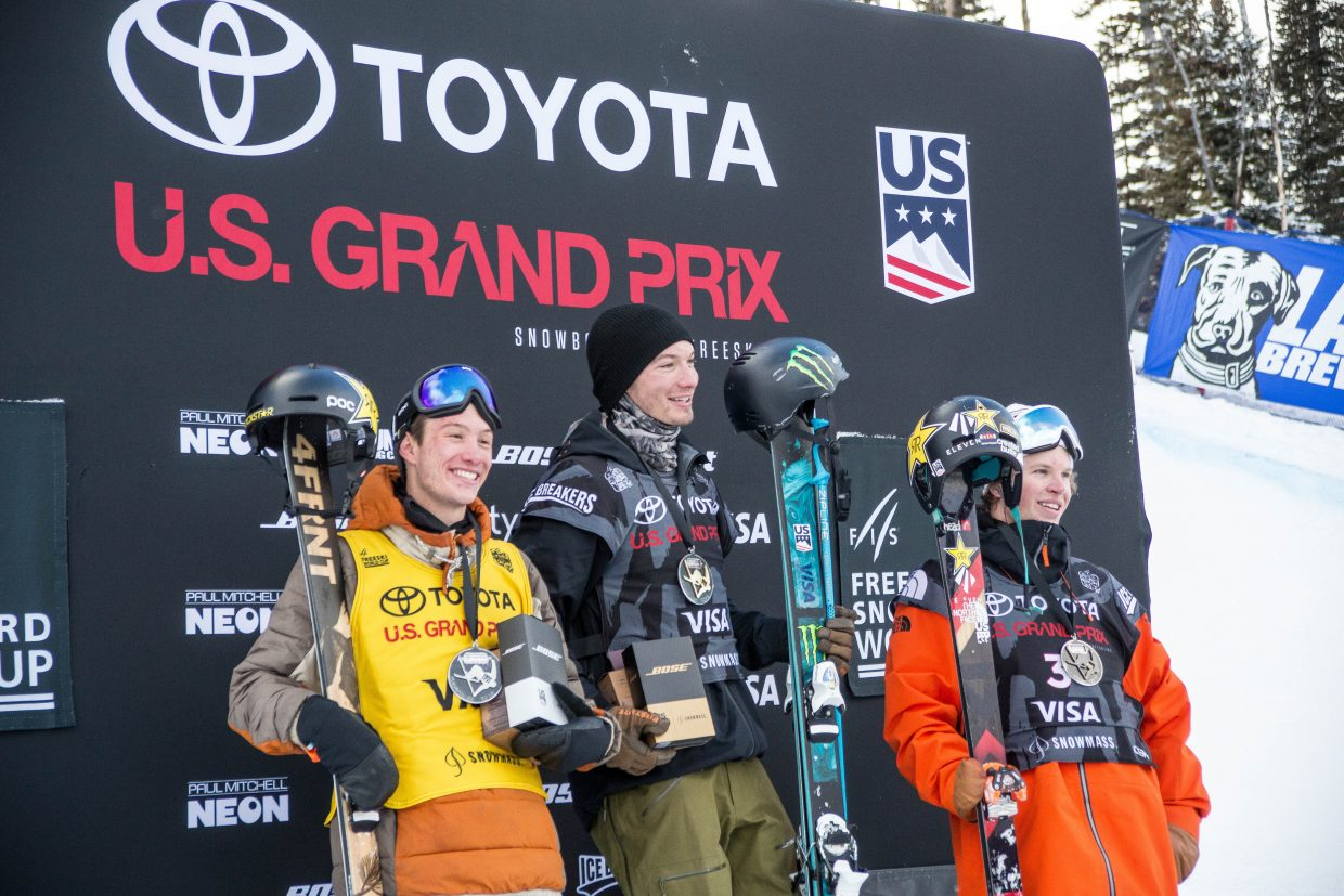 Americans swept the podium for the men's ski halfpipe finals at the Snowmass U.S. Grand Prix Friday with Aaron Blunck in third, Aspen's Alex Ferreira in second, and David Wise in first.