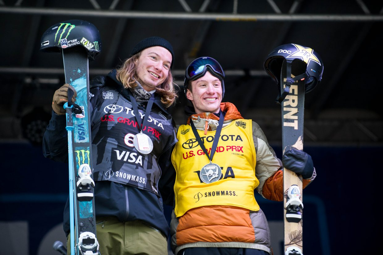 David Wise, left, celebrates on the podium with Alex Ferreira after they went one and two in the men's halfpipe finals at the U.S. Grand Prix in Snowmass on Friday.