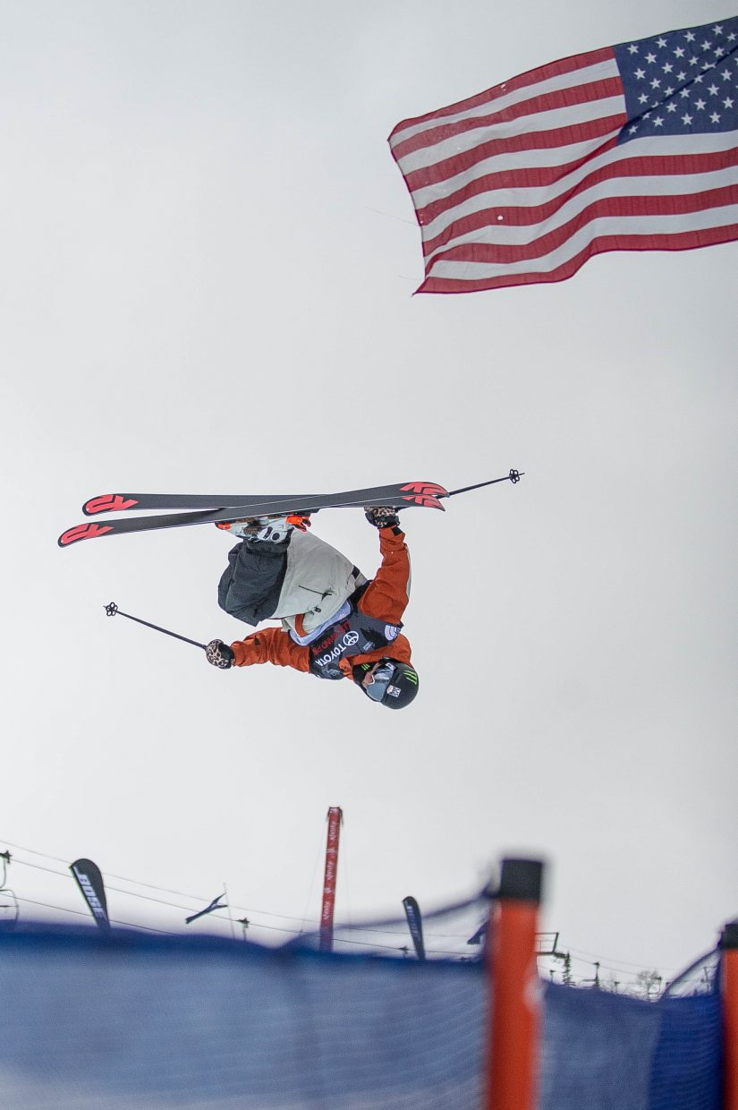 Birk Irving taking a practice run before the men's ski halfpipe finals in Snowmass for the U.S. Grand Prix on Friday.
