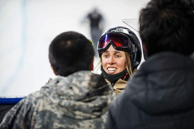 U.S. freeskier Maddie Bowman getting interviewed after winning the women's ski superpipe finals for X Games on Thursday at Buttermilk. Bowman took first place with her second run and a score of 92.