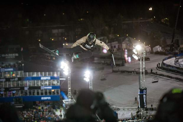 U.S. freeskier Brita Sigourney on her second run during the women's freeski superpipe finals at X Games in Aspen on Thursday. Sigourney took second place with a score of 90.33 on her second run.