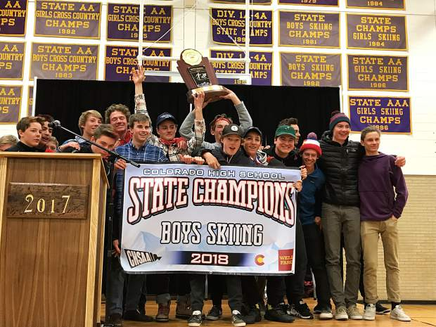 The Aspen High School boys ski team celebrates on the podium after winning the state championship on Friday in Leadville. It is the Skiers eighth state title in school history, and first since 2014.