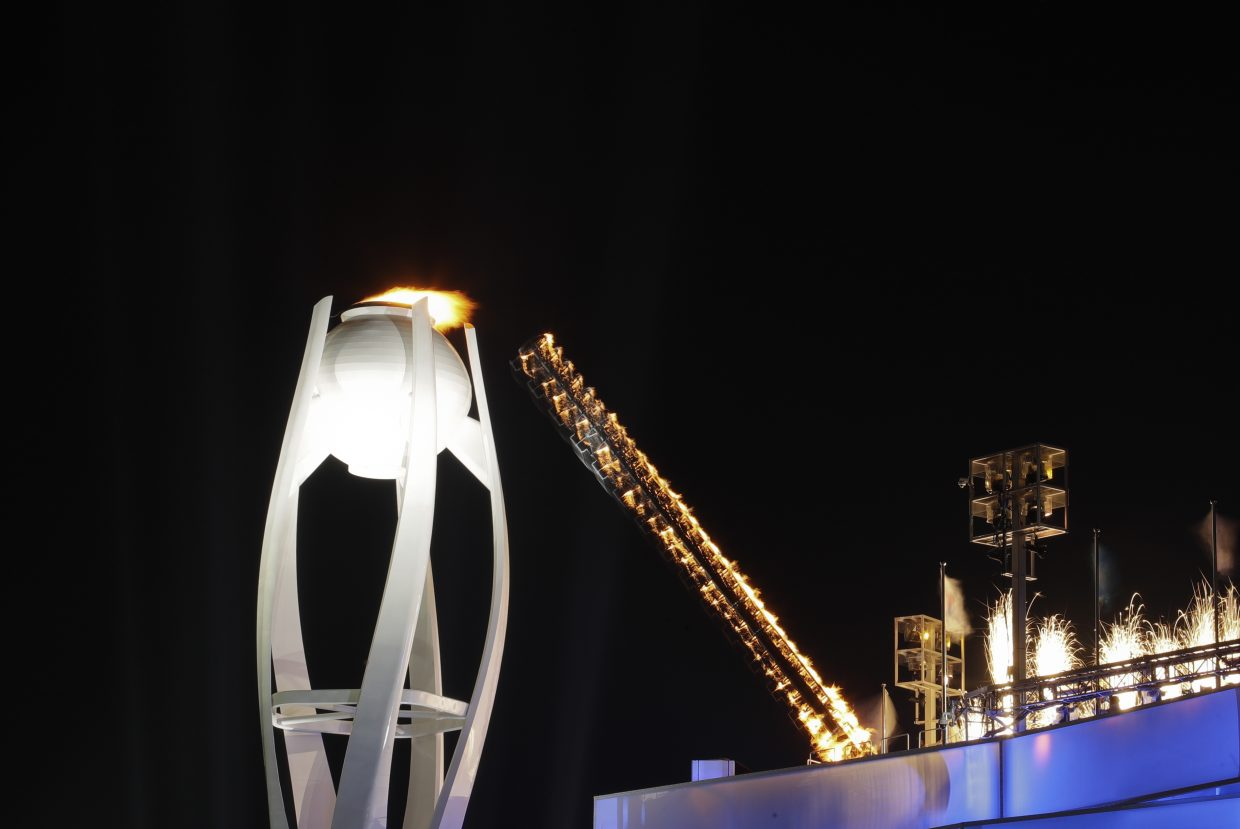 The Olympic flame is lit during the opening ceremony of the 2018 Winter Olympics in Pyeongchang, South Korea, Friday, Feb. 9, 2018. (AP Photo/Andrew Medichini)