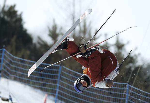 Torin Yater-Wallace, of the United States, jumps during the men's halfpipe qualifying at Phoenix Snow Park at the 2018 Winter Olympics in Pyeongchang, South Korea, Tuesday, Feb. 20, 2018. (AP Photo/Kin Cheung)