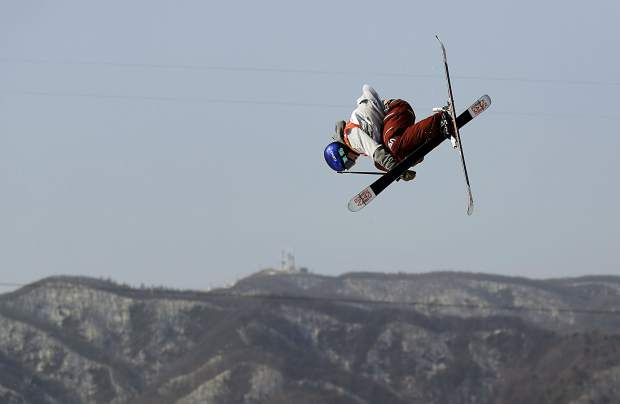 Torin Yater-Wallace, of the United States, jumps during men's halfpipe qualifying at Phoenix Snow Park at the 2018 Winter Olympics in Pyeongchang, South Korea, Tuesday, Feb. 20, 2018. (AP Photo/Gregory Bull)