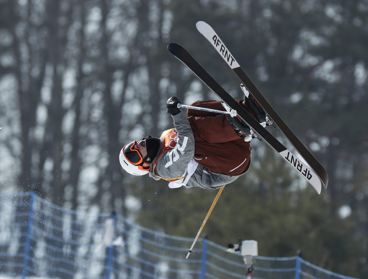 Alex Ferreira, of the United States, jumps during the men's halfpipe qualifying at Phoenix Snow Park at the 2018 Winter Olympics in Pyeongchang, South Korea, Tuesday, Feb. 20, 2018. (AP Photo/Kin Cheung)