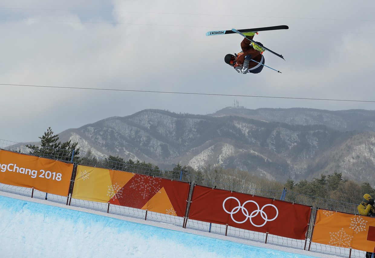 David Wise, of the United States, jumps during the men's halfpipe finals at Phoenix Snow Park at the 2018 Winter Olympics in Pyeongchang, South Korea, Thursday, Feb. 22, 2018. (AP Photo/Gregory Bull)