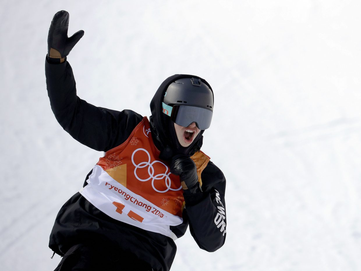 Nico Porteous, of New Zealand, reacts after his run during the men's halfpipe final at Phoenix Snow Park at the 2018 Winter Olympics in Pyeongchang, South Korea, Thursday, Feb. 22, 2018. (AP Photo/Lee Jin-man)